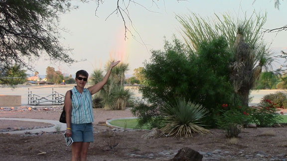 Joyce holding a rainbow at DM-Tucson