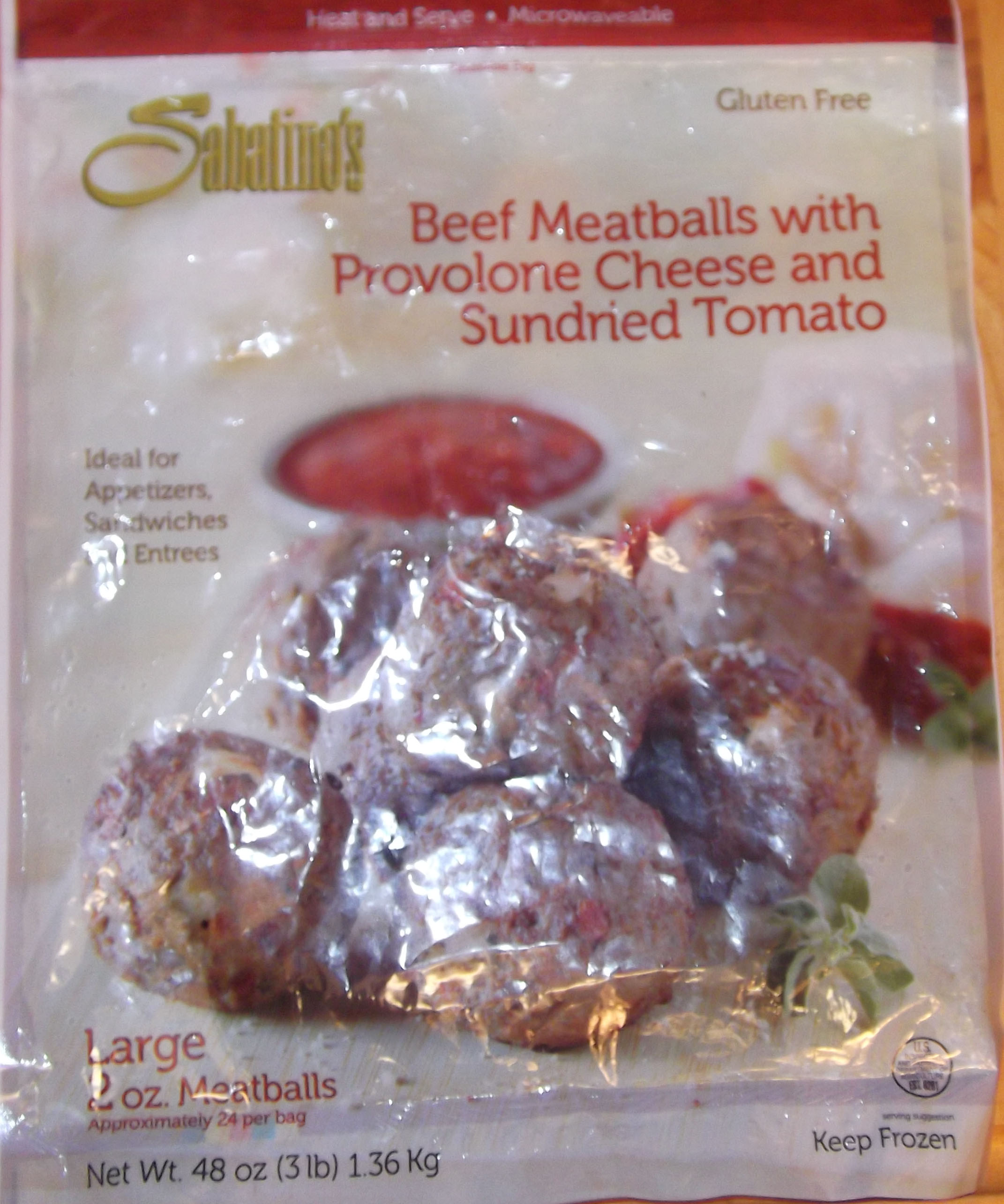 Sabatinos Beef Meatballs with Provolone Cheese and Sundried Tomato