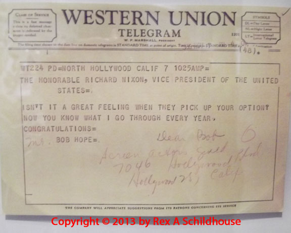 A telegram from Bob Hope