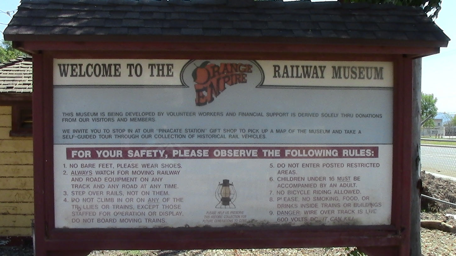 Orange Empire Railway Museum Entrance Sign
