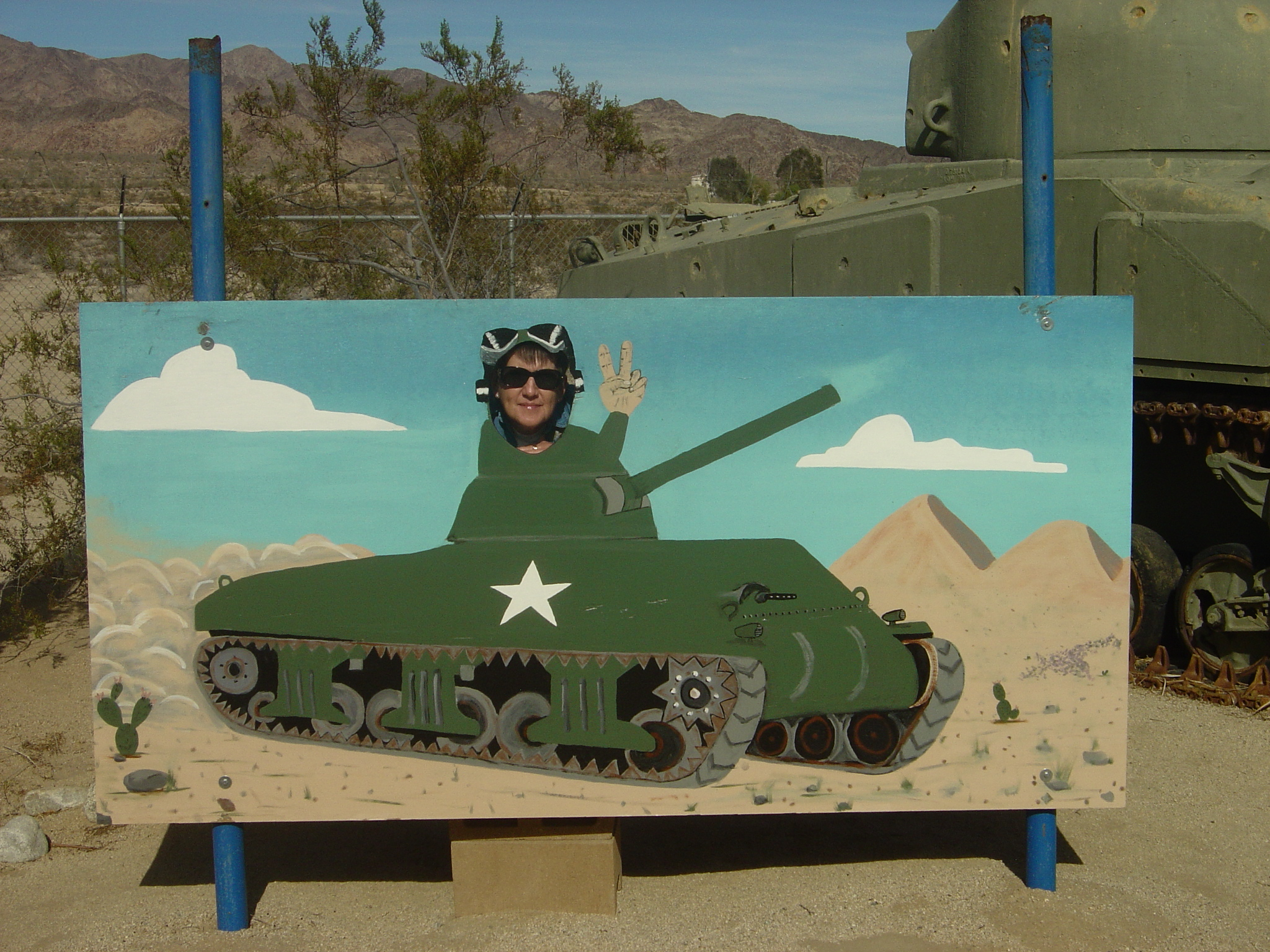 Joyce in an M4 Sherman Tank
