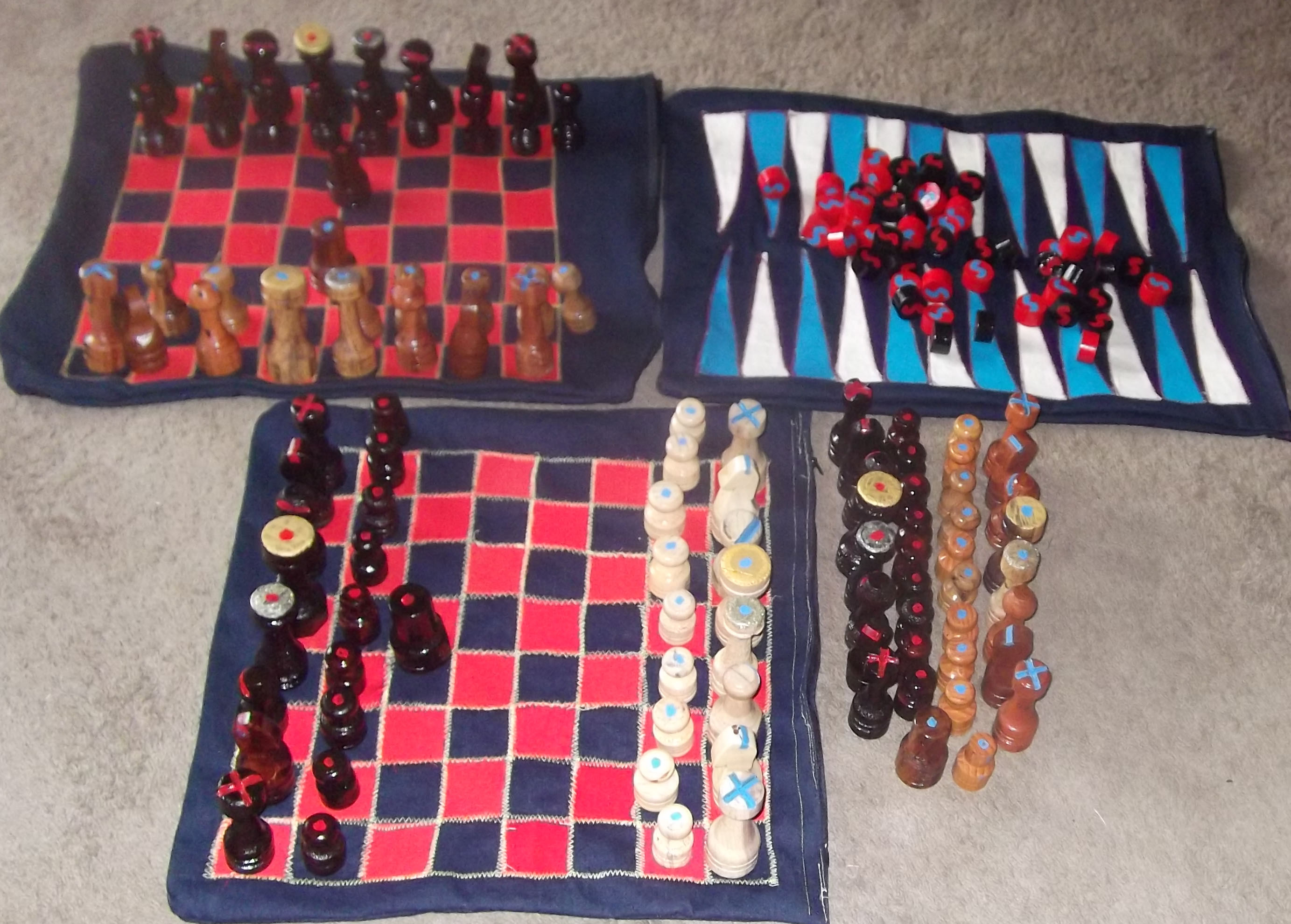 Chess, Checker, Ace-Deuce and Backgammon Bags